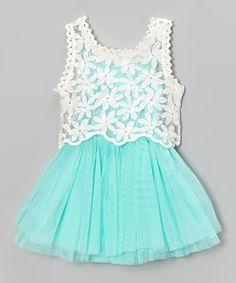 Blue & Ivory Pleat Dress & Lace Tank