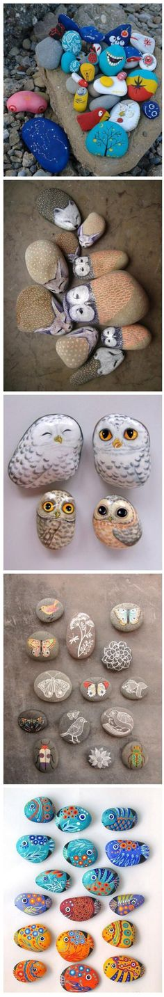 So cute Painting rocks summer activity craft time fun with kids. Design animals, diy, or pictures on the stones. Use the stones as a crafty centerpiece on coffee table, use them as on bookshelves in a bowl as centerpiece on the dinner table, nightstand... use them to create stories as part of summer night time ritual and more…