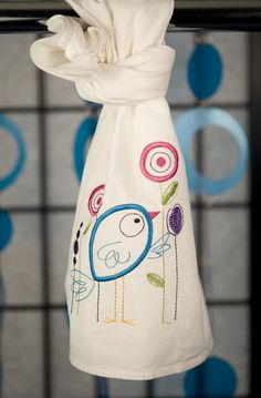 Whimsical Bird and Floral Design on Premium Flour by jjhcreations, $6.50