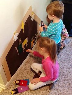 Wall Nativity from felt for kids to play with by louellaa
