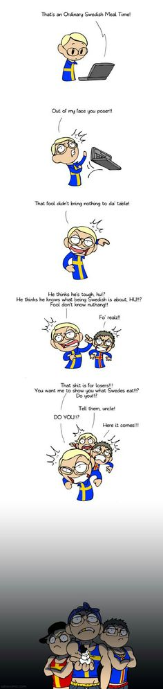 """The snowman is a reference to a man in Sweden who got trapped in his car without food during a snowstorm and was found two months later, weak but still alive. How did he survive? By eating """"a bit of snow"""". Good Jokes, Funny Jokes, Hilarious, Satw Comic, Swedish Army, Vs The World, Funny Clips, Funny Art, Hetalia"""