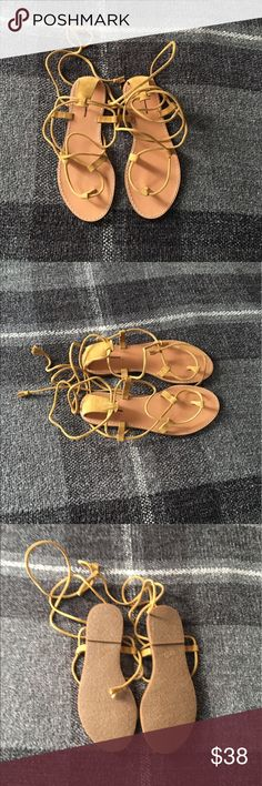 Madewell Lace up Sandal NWOT Leather gladiator style laces trimmed in handmade tassels. These were acquired at a sample sale and so the color yellow suade is not available in the store. Brand new item. Madewell Shoes Sandals