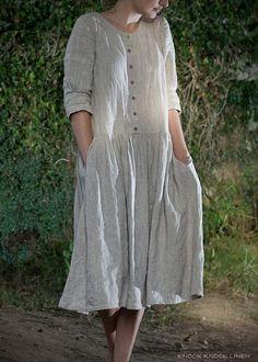 LINEN DRESS. custom length by KnockKnockLinen on Etsy