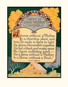 What is Home Without a Mother? ~ Vintage cottage illustration