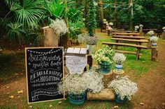 decoración de ceremonia rústica www.bodasdecuento.com