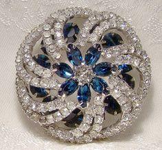 Vintage Kramer Blue White Rhinestones Large by FionaKennyAntiques
