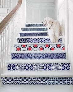 Decorate your stairs - you could use Delft Blue for a dutch inspired home - #Delft #Blue #design