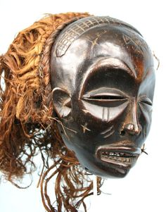 Ancien Masque Chokwe - African Mask - Art Africain Tribal - Coiffe Abondante +++