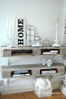 1/2 pallet shelves. Holes for electrical items and top of shelves for CD and DVD storage. AWESOME