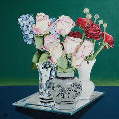 Saskia Huitema -Delft and Peacock  Acrylic&mixed media painting