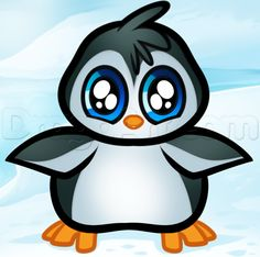 How to Draw a Baby Penguin, Step by Step, Cartoon Animals, Animals ...