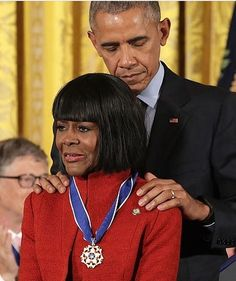 Powerful photo via @blkcelebgiving of #POTUS awarding #cecilytyson with the Medal of Freedom. All three are national treasures.