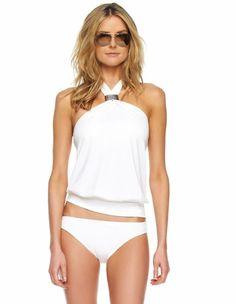 Michael Kors White Hammered Hardware Cayman Solid Tankini Swimsuit