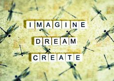 Imagine Dream Create Yellow Green Scrabble by ShadetreePhotography,