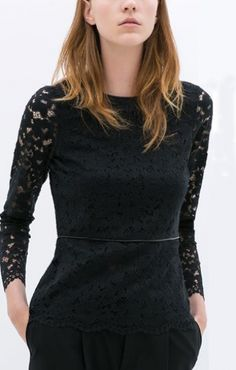 Hollow-out See-through Lace Long Sleeve T-shirt