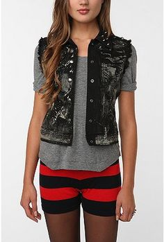 Tripp NYC Studded Bleached Vest