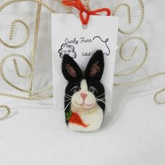 Needle felted Dutch bunny brooch rabbit pin felted by CurlyFurr