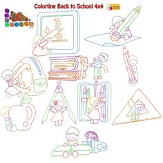 Colorline Back to School Machine Embroidery Design Collection 4x4  #BackToSchool #quilt #quilting #MachineEmbroidery #sewing #embroidery #EmbroideryDesigns #EmbroideryMachine #Children #School Embroidery Software, Machine Embroidery Designs, Star Stitch, One Design, Happy Mothers Day, 4x4, Back To School, Quilting, Sewing