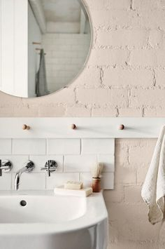Brick wall painted blush #homedecor