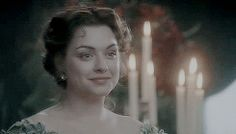 Daniela Denby-Ashe as Margaret Hale in North and South (BBC). Margaret gently smiles at Thornton as he approaches her at the dinner party. Elizabeth Gaskell, Period Movies, Period Dramas, Jane Austen, John Thornton, Bbc Drama, Look Back At Me, North South, Pride And Prejudice