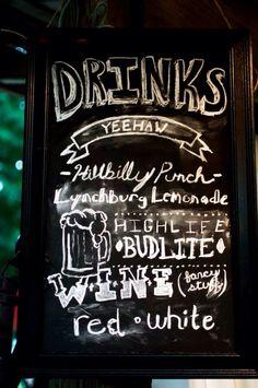 DIY drink menu, rustic Jack Daniels wedding.