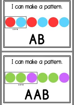 Students create the pattern (choose the colors) or could even use some fun stickers to create the pattern labeled on the card. Patterning Kindergarten, Kindergarten Math Activities, Preschool Math, Math Classroom, Math Resources, Teaching Math, Teaching Patterns, Math Patterns, 1st Grade Math