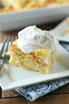 Egg Nog Breakfast Bread Pudding with Cinnamon Whipped Cream