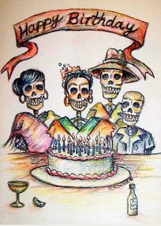 Sugar skull happy birthday card day of the dead mexican tattoo greeting cards greeting card featuring the painting happy birthday woman skull by heather calderon m4hsunfo