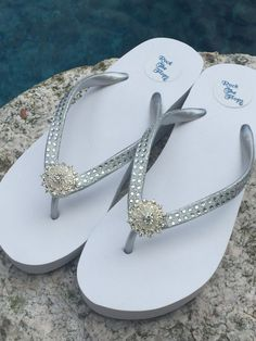 83bba291ec23f Items similar to Bridal Flip Flops Wedges.Wedding Flip Flops.PURE WHITE  Flip Flops! Rhinestone Flip Flops.Beach Wedding.High Wedge Flip Flops. on  Etsy