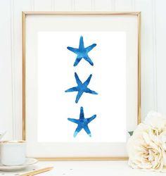Blue Starfish Print, Nursery Print, Watercolor Wall Art, Nautical Decor, Beach Decor, Starfish Wall Art, Watercolor Print, Printable Art on Etsy, $5.00