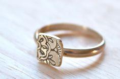 Sterling Silver Mehndi Lotus stacking Ring
