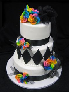 Rainbow Roses Black Ribbon Cake - Themed Wedding Cakes | Freed's Bakery Las Vegas |