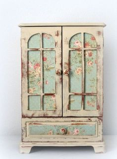 shabby chic amoires | Huge Shabby Chic Jewelry Box Dresser Armoire French Monogrammed OOAK #shabbychickitchencolors
