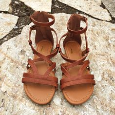 Brown Strappy Sandals with zip back closure. Wear with EVERYTHING!
