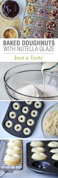 Baked Mini Buttermilk Doughnuts with Nutella Glaze #recipe via justatate.com