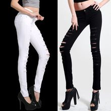Hot Fashion Ladies/Female Cotton Denim Ripped Hole Punk Cut-out Women Sexy Skinny pants Jeans Leggings Trousers Black / White(China (Mainland))