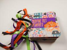 Halloween Scrapbook Album, Halloween Mini Album, Premade Album, Halloween Brag Book, Halloween Photo Album, Chipboard Album, 4x4 Album Album by HampshireRose on Etsy