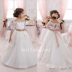 White Beaded Lovely Flower Girl Dresses Gown For Wedding Lace Bateau Neck Custom #Dresses