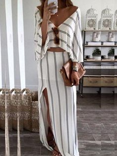 Women Sexy V Neck Striped Side Split Set Women's Best Online Shopping - Offering Huge Discounts on Dresses, Lingerie , Jumpsuits , Swimwear, Tops and More. Off Shoulder Fashion, Split Skirt, Moda Boho, Long Sleeve Shirt Dress, Bat Sleeve, Womens Fashion Online, Latest Fashion, Summer Outfits, Dresses With Sleeves