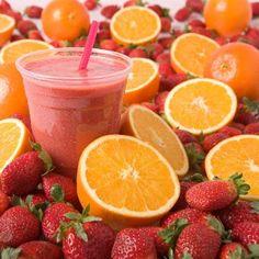 Strawberry Orange smoothie- HCG Diet Recipe'S - Phase 2 Healthy Drinks, Healthy Snacks, Healthy Recipes, Protein Recipes, Healthy Options, Smoothie Drinks, Smoothie Recipes, Smoothies, Detox Drinks