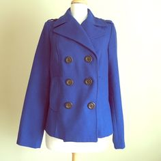 Cobalt Blue Pea Coat Gorgeous color! EUC. No stains, tears, or holes. Six tortoiseshell buttons on breast and two on shoulders. Two side pockets. 55% polyester, 43% wool, 2% other fiber. Navy blue lining is 100% polyester. Dry clean only. Mannequin is size 4 for sizing reference. Size medium but runs on the smaller side. Reasonable offers always welcome. Old Navy Jackets & Coats Pea Coats