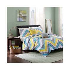 Amazon.com: Modern Coverlet Bedding Set Chevron Stripes with Teal,yellow and…