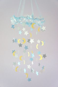 Moon & Stars Nursery Mobile Nursery Decor Baby by LoveBugLullabies, $63.00