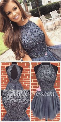 2016 #homecoming dress, short grey homecoming dress 2016, formal dress, halter homecoming dress, beads homecoming dress with open back, party dress