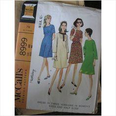 """1960's McCalls pattern 8999 ladies dress size 40/42 Bust 42"""" - 44""""  uncut - purplestevie ebid"""