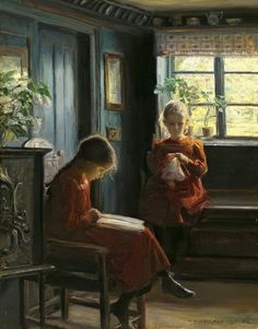 Knud Erik Larsen, Danish (1865-1922) Genevieve knows reading is bad for the eyes