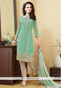 Pista Green And Blue Color Pant Style Salwar Suit In 2 Piece Combo Pack