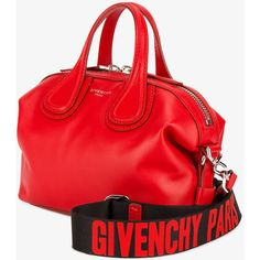 Givenchy small Nightingale tote ❤ liked on Polyvore featuring bags, handbags, tote bags, red tote bag, genuine leather tote, leather tote bags, red leather tote and zip top leather tote