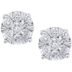 Effy Diamond Stud Earrings (1-5/8 ct. t.w.) in 14k White Gold (90.025 ARS) ❤ liked on Polyvore featuring jewelry, earrings, accessories, white gold, round diamond earrings, 14k white gold earrings, 14 karat gold stud earrings, 14k diamond earrings and round earrings
