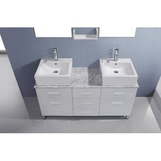 "Ultra Modern Series 56"" Double Bathroom Vanity Set with White Marble Top and Mirror Base Finish: White - http://bathroomvanitiespot.com/ultra-modern-series-56-double-bathroom-vanity-set-with-white-marble-top-and-mirror-base-finish-white-641579297/"